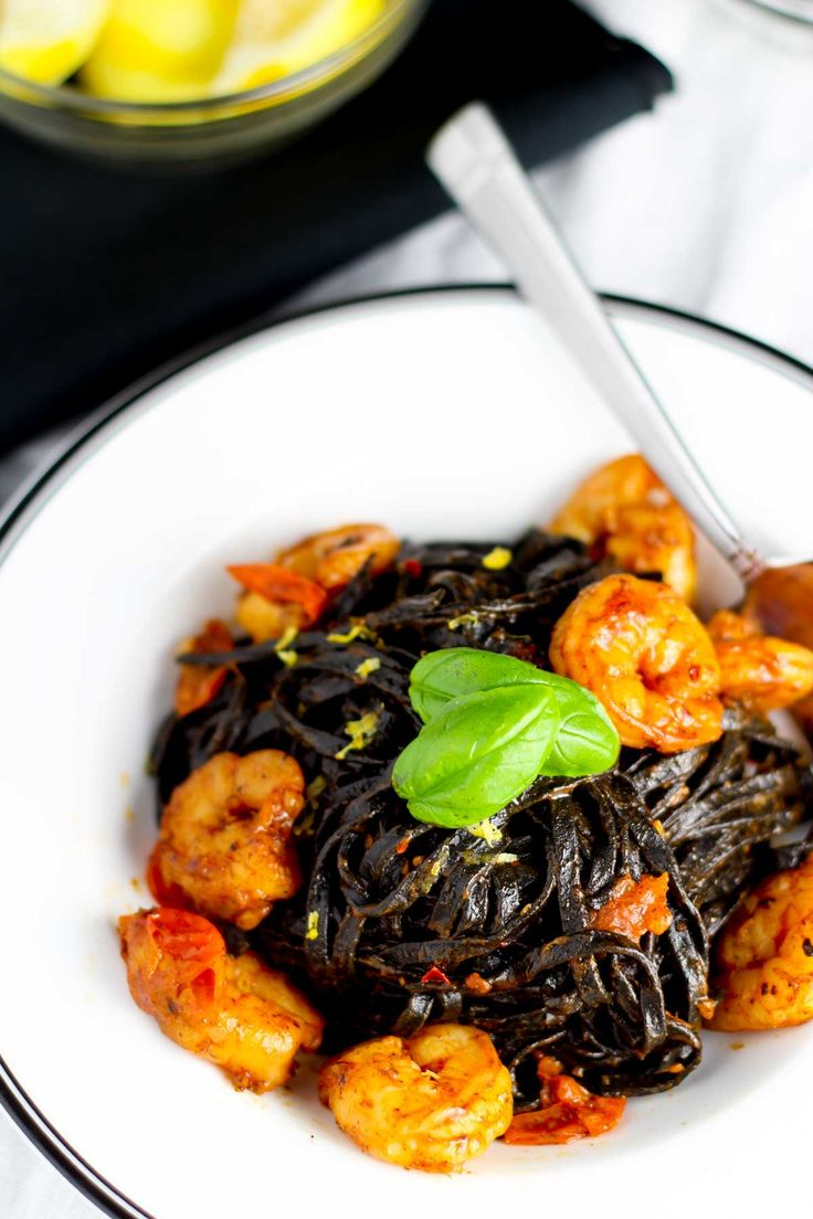 Squid Ink Linguini with Shrimp and Cherry Tomatoes | Platings & Pairings