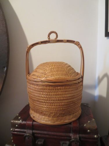 Vintage Asian Basket Chinese Wedding Bridal Sewing Woven Wicker and Bamboo Old | eBay