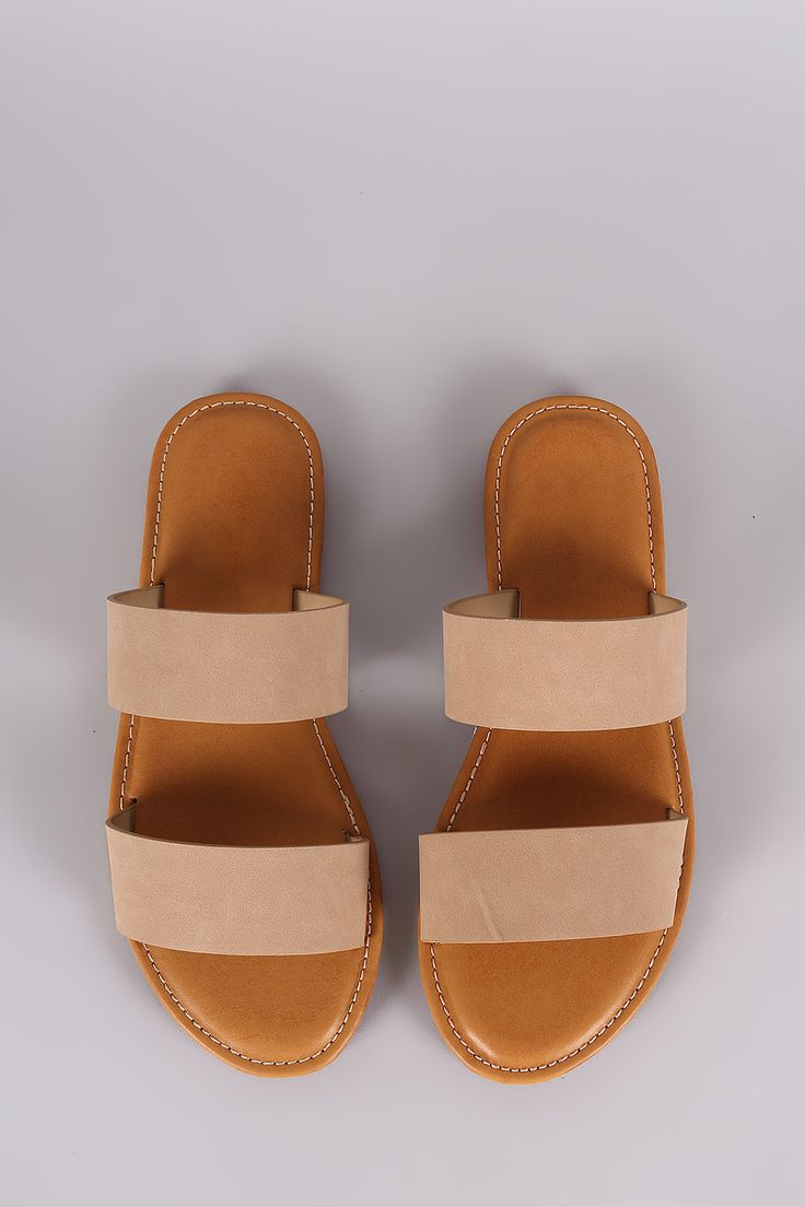 Bamboo Nubuck Double Band Slide Sandal