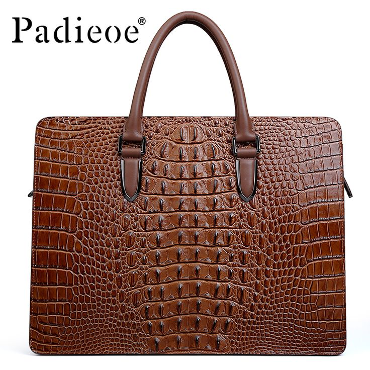 Padieoe Deluxe Alligator Pattern Men's Briefcase Luxury Genuine Leather Shoulder Bag Fashion Luxury Business Man Briefcase
