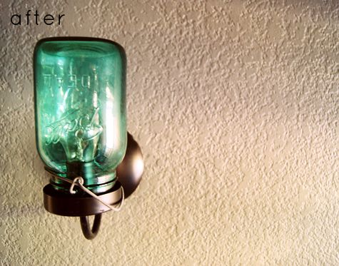 Ball jar = wall sconce