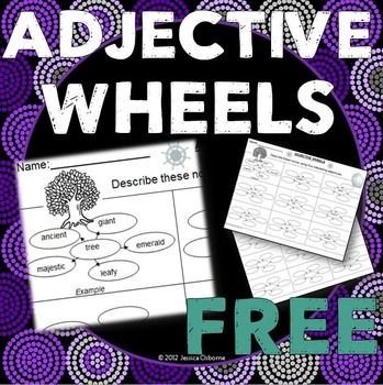 """Adjectives! These wheels are used to help students practice creating interesting adjectives to describe nouns. The first page has the nouns listed for the students to describe as well as an example of what choosing an """"interesting"""" adjective look like."""