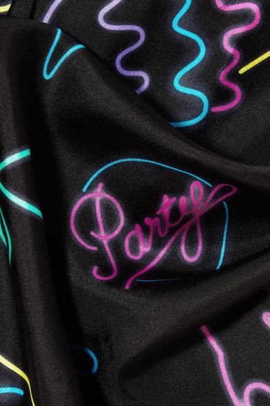 Marc Jacobs - Neon Lights Printed Silk-twill Scarf - Black - One size