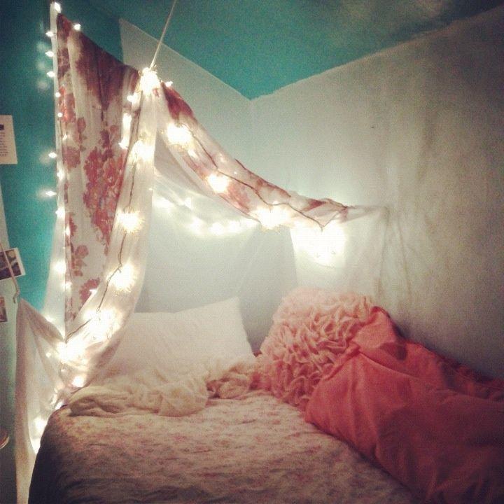clothes line + command hooks + string lights = blanket fort
