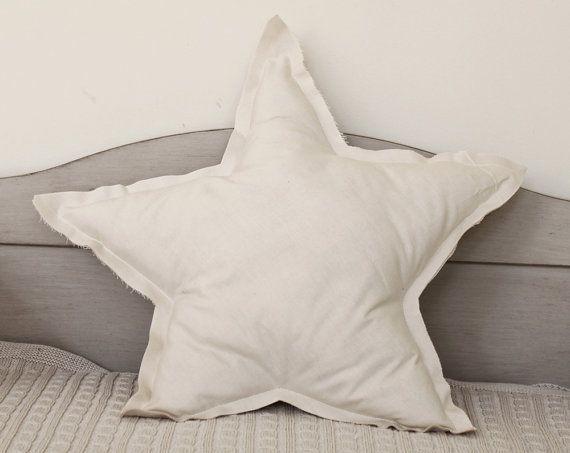 Star shaped Pillow or cushion - cream, soft cotton
