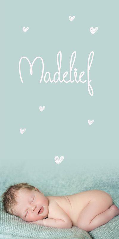 Geboortekaartje Madelief   new born fotografie   foto   baby   meisje   zacht roze   mint groen   hartjes   bijzonder formaat   uniek kaartje   Studio Altena