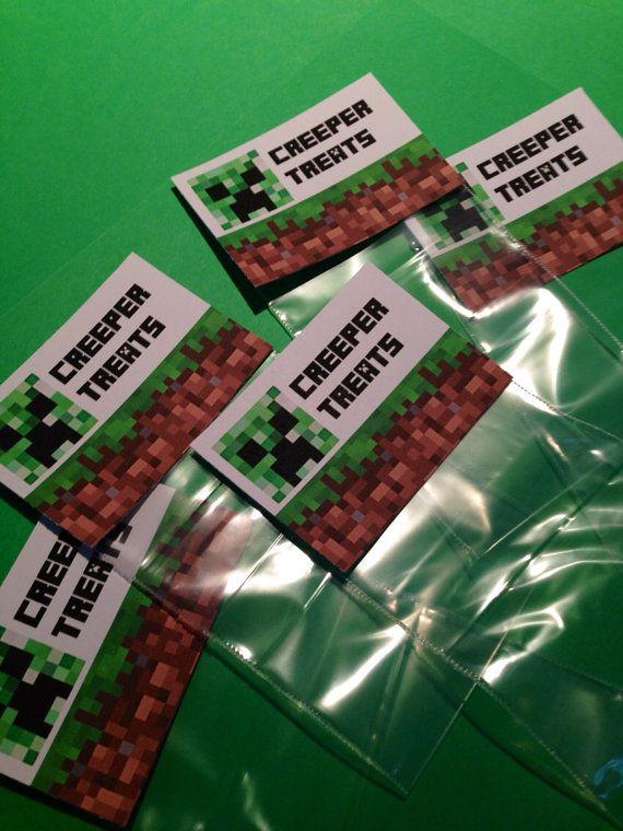 minecraft party creeper treats favor bag topper labels