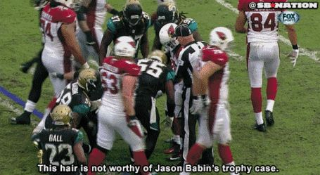 Jason Babin ripped out a chunk of Andre Ellington's hair