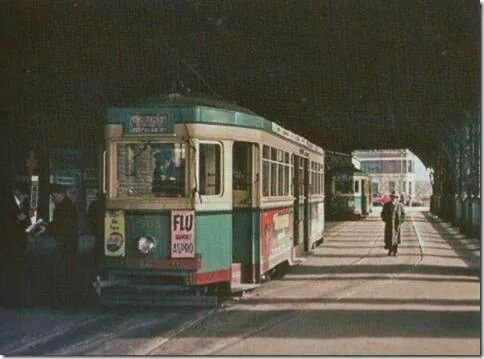 Trams at Central Railway Station, Sydney, Australia Country section where the Light Rail now pulls in. 1950. v@e