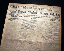 Rare CHARLES EVANS HUGHES False Presidential Election Elected Win 1916 Newspaper