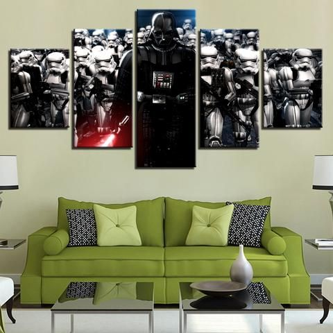 5 Pieces Star Wars Paintings FMovie Characters Canvas Wall Art
