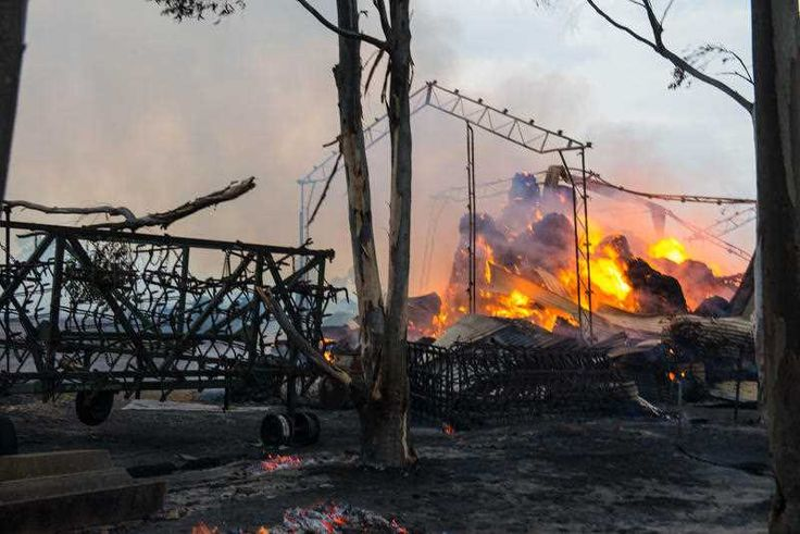 A shed burns at the entrance to Freeling ; my home town until recently.