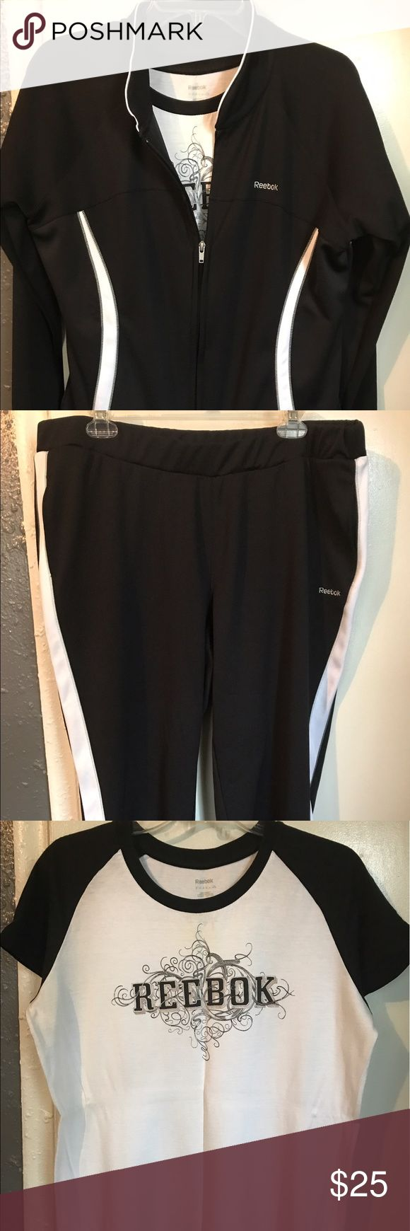 Reebok Ladies Jogger Black and White Crop Jogger. Gently Used. Very comfortable. Smoke Free Home Reebok Other
