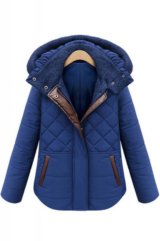 Bold Color! Would love this Jacket over Black Leggings with a Black Turtleneck and a Colorful Infinity Scarf! Hooded Long Sleeve Cotton-Padded Winter Coat #Sapphire #Blue #Winter #Jacket #Fashion