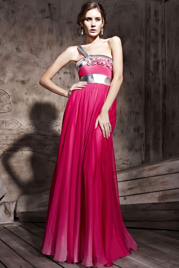 Watermelon Red One Strap A-line Empire Prom Dress