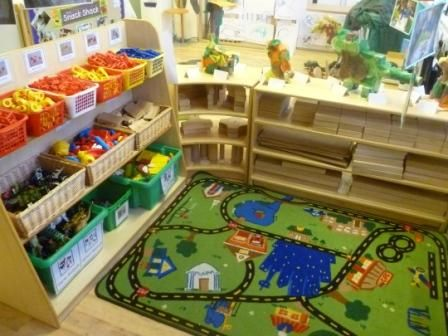 Small world and construction areas next to each other will compliment each other and extend the possibilities of play