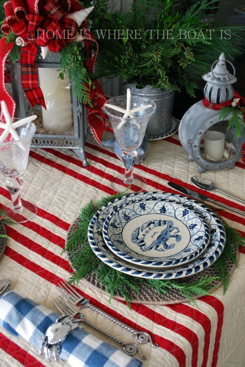 Table setting for a nautical Christmas Dinner