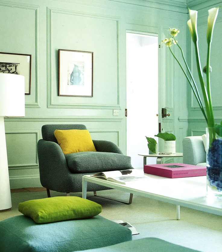 Pale Jade Walls For A Calm Contemporary Look GreenEmerald GreenMint GreenLiving Room