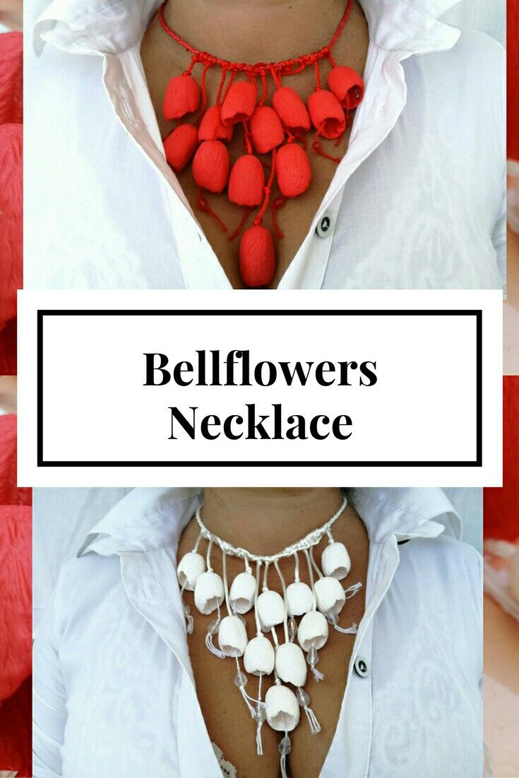 Exclusive handmade necklace made of polimer clay, hollow beads, rubber cord, metal accessories.Color fire red and white. Very light . For its creation I have used only high quality materials: polymer clay Fimo Length: 16.93inch