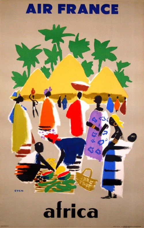 Poster by Even / Air France - Africa / 1958