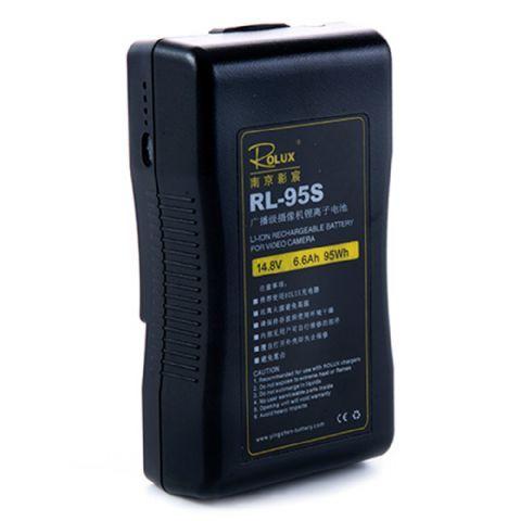Rolux V-Mount Accu RL-95S 95Wh 148V  De Rolux V-Mount Accu RL-95S is een zeer professionele Lithium Ion accu met een capaciteit van 6.6Ah en 95Wh.De status van de batterij wordt aangegeven middels 4 LED indicatoren aan de zijkant van de accu. Acculader niet inbegrepen.  Toepassing  De oplaadbare accu is te gebruiken in combinatie met alle elektrische apparaten met V-Mount aansluiting zoals bijvoorbeeld LED lampen en videocamera's.  EUR 175.95  Meer informatie