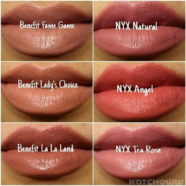 No filters, no edits. The Benefit lipsticks came in a trio set from Ulta's Black Friday sale. ..→ Benefit Cosmetics 'Fame Game' ..→ Benefit Cosmetics 'Lady's Choice' ..→ Benefit Cosmetics 'La La Land' ..→ NYX Matte Lipstick 'Natural' ..→ NYX Matte Lipstic