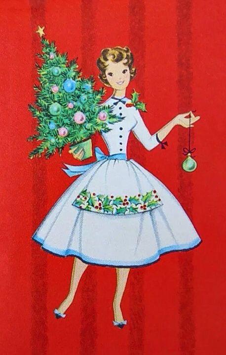 Vintage Unused Xmas Greeting Card Mid Century Modern Girl w Mini Holiday Tree | eBay