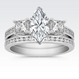 Three-Stone Princess Cut and Round Diamond Cathedral Wedding Set with Marquise Diamond