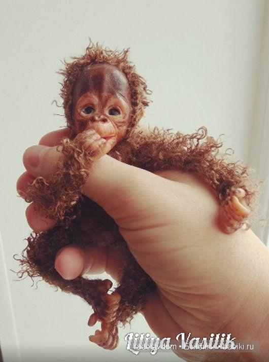 Игрушка ручной работы. Обезьянка - детеныш орангутанга 2 / Изготовление авторских кукол своими руками, ООАК / Бэйбики. Куклы фото. Одежда для кукол