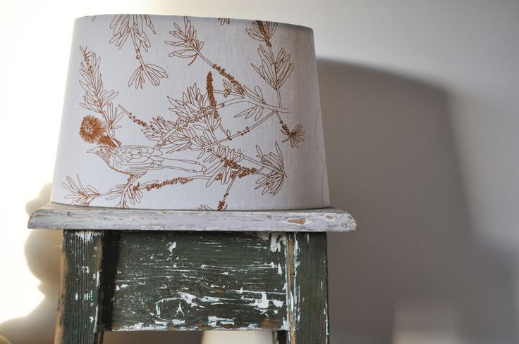 'wattle bird in the bottle brush' (table) Lampshade (C2) - hand printed on eco fabric with water-based inks. To find out and more and to purchase my products visit www.pinchriver.co... (formerly stilelemente) - All designs are copyright Pinch River / Gabriella Tagliapietra
