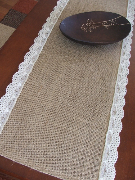 burlap lace table runners!