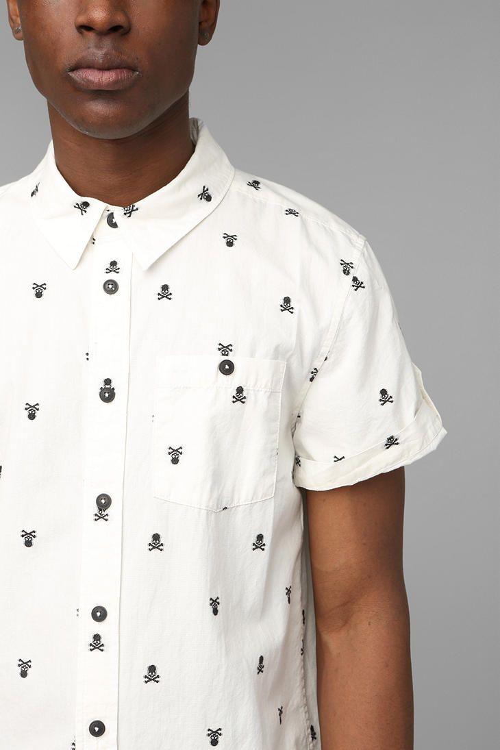Kill City Skull Embroidery Button-Down Shirt