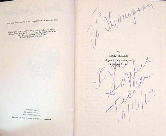Sophie Tucker's autograph on a copy of her 1945 autobiography Some Of These Days. Note the date - almost 20 years after publication she's still signing them!