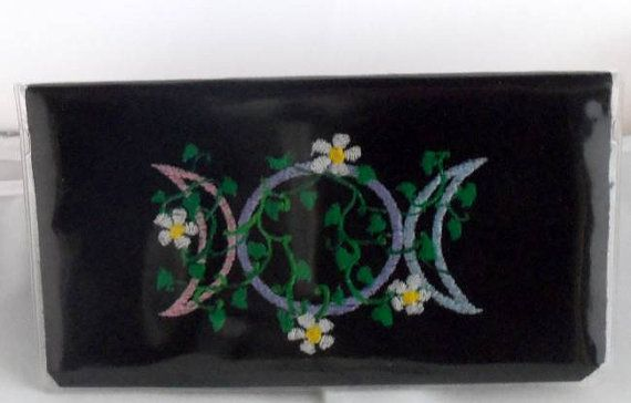 Checkbook Cover Pagan Triplemoon Vine Wiccan by NittyGrittyThreads