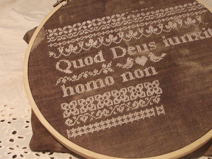 Quod Deus iunxit homo non separet cross stitch