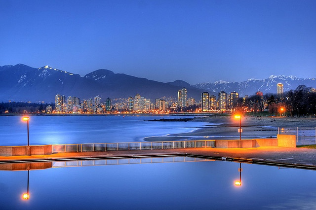 Kitsilano Beach at Dusk, via Flickr.  my new home in a week! living four blocks from here :)