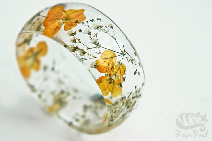 Yellow Bangle. Chunky Resin Bangle. Spring/Summer. Botanical Jewelry. Meadow. XL. Romantic Gift. Handmade. Irish Craft.. €28.00, via Etsy.