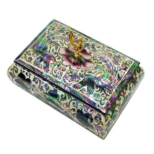 Lacquer ware inlaid new mother of pearl handcrafted jewelry case,jewel box trinket box Phoenix patterns | nacreart - Jew
