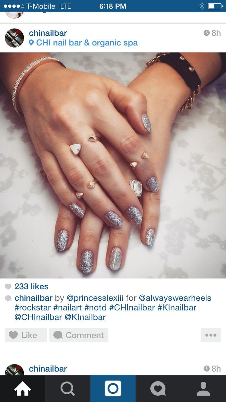 Blue glitter ombr 233 stiletto nails - Glitter Nails Nail Art