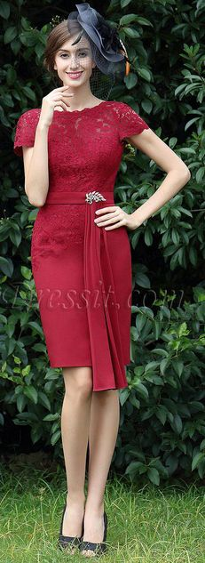 Burgundy Lace Mother of the Bride Dress #eDressit
