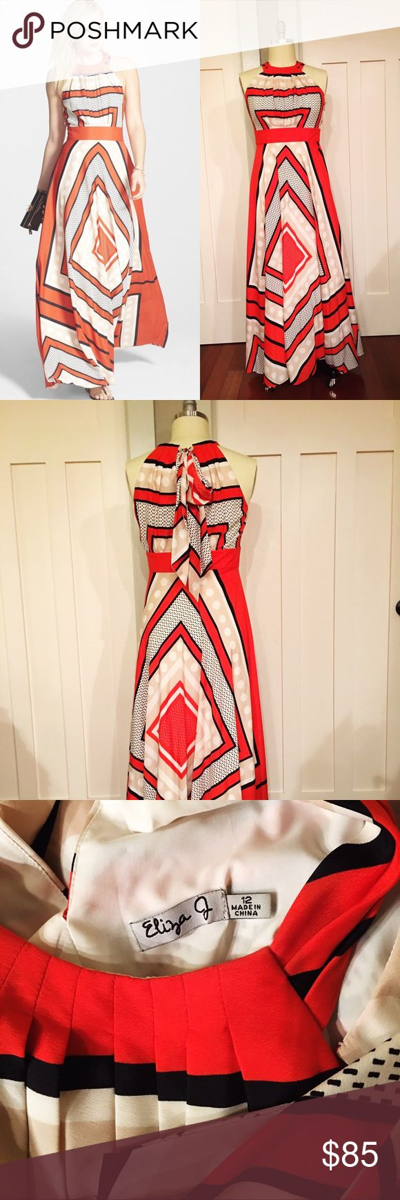 Eliza J Scarf Neck Maxi Dress Like new! Wore once to a wedding. Incredibly fun to dance in and super comfy. Side zip and adjustable halter neck - tie in a bow or let hang down back. Eliza J Dresses Maxi