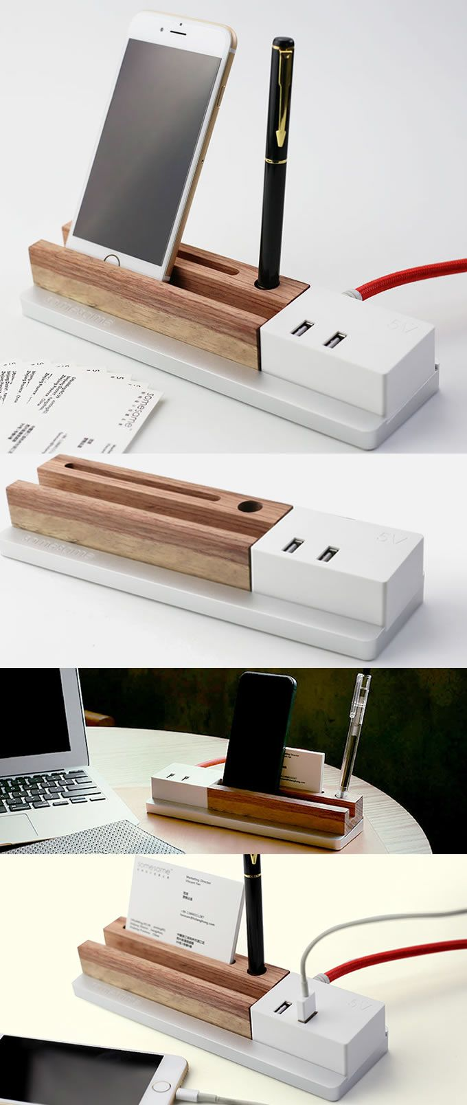 Wooden 4 Port Usb3 0 Hub Office Desk Stationery Organizer Tray Pen