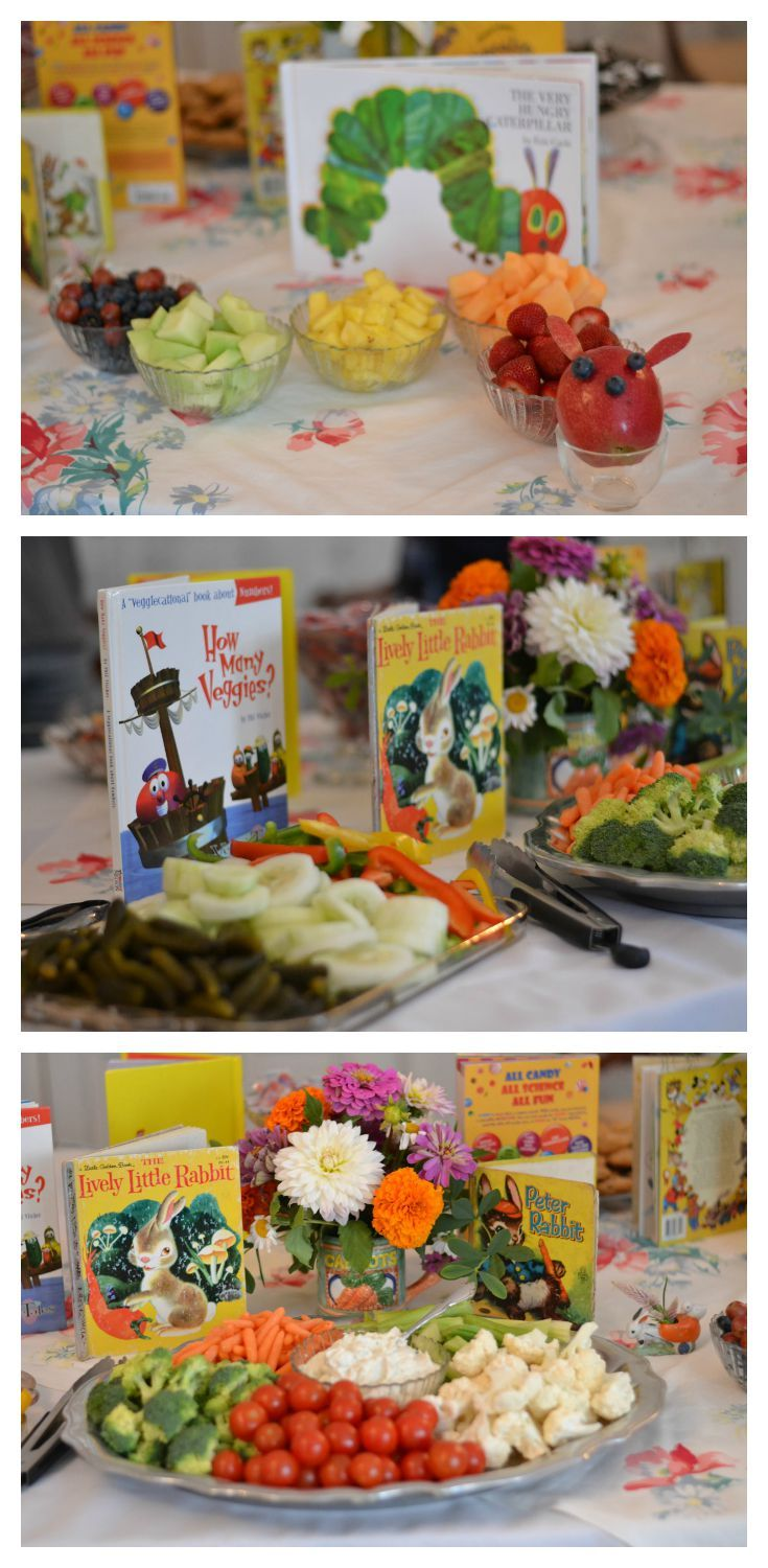Food table at a book-themed baby shower featuring the Very Hungry Caterpillar, Lively Little Rabbit, Peter Rabbit and other classic children's books.