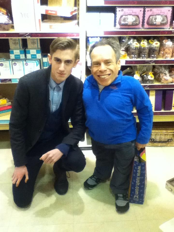 My friend met Warwick Davis in Thornton's!
