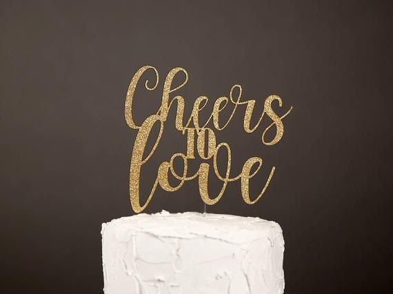 cheers to love cake topper,  bridal shower cake topper, engagement cake topper, glitter party decora   – Products