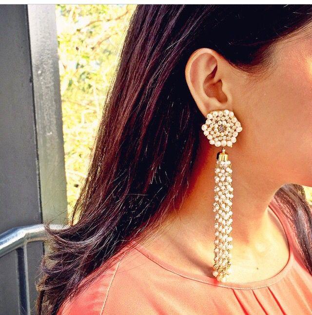 Prerto pearly white earrings indian / earrings / indo western/ jewellery www.prerto.com