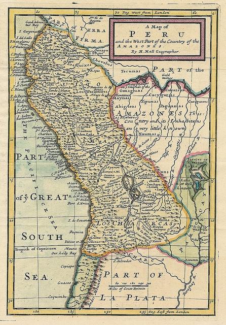 Historic map of PERU (1711)