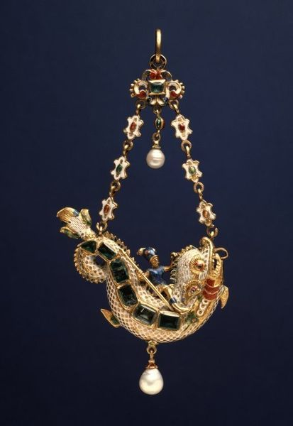 """Dolphin Pendant, ca. 1600, gold, enamel, emeralds, pearls. H: 3 5/8 in. (9.2 cm). The Art Walters Museum.   This wonderfully flamboyant design is close to the model on the title page of the second part of Hans Collaert's stunning series of pendant designs published in Antwerp in 1582: """"Virtuosic Designs for Golden Ornaments."""" In the engraving, it is the god Apollo riding a sea monster, but the similarities remain strong."""