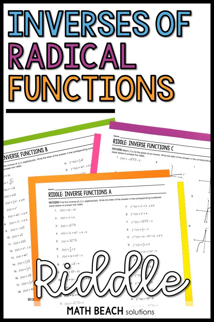 Inverse Functions Riddle Activity Algebra Worksheets Inverse Functions Algebra Resources