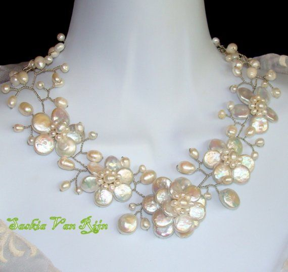 BETRYS natural pearls hand crafted necklace by SaskiaVanRijn, $245.00